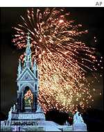 The Albert Memorial with fireworks