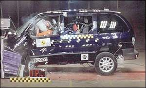 Chrysler Voyager undergoing safety tests