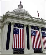 Flags adorn Capitol Hill