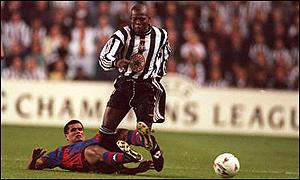 Asprilla tangles with Rivaldo in his Newcastle days