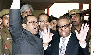 The Hinduja brothers leaving the court on Friday