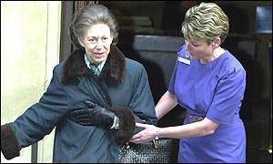 Princess Margaret leaving hospital