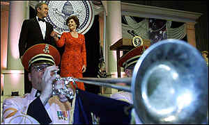 George W and Laura Bush at inauguration