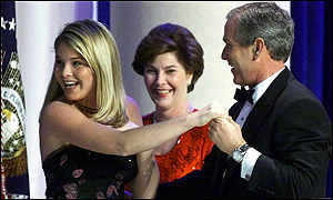 Jenna, Laura and George W Bush