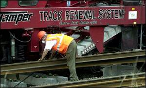 Track laying work, at the scene of the train crash near Hatfield, Herts