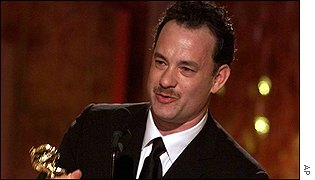 Tom Hanks gives his acceptance speech after winning the best actor award