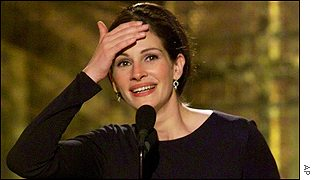 Julia Roberts is overcome as she receives her best actress award for Erin Brockovich