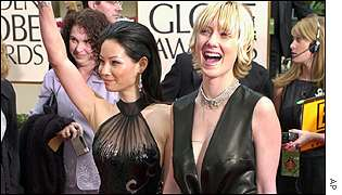 Lucy Liu and Anne Heche arrive for the ceremony in Los Angeles