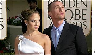 Jennifer Lopez and Matthew McConaughey pose for the press