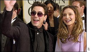 Ally McBeal stars Calista Flockhart and Robert Downey Jr are all smiles