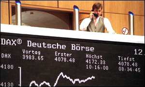 Trader in action at the German stock exchange