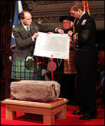 Michael Forsyth and Prince Andrew with the stone