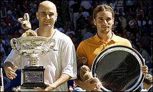 Thirty-year old Agassi broke Clement's serve early on and never looked back