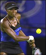 Venus Williams in action against Amanda Coetzer