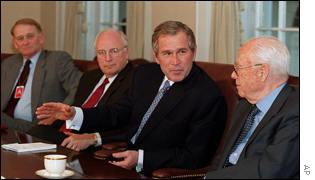 George W Bush in a Cabinet meeting, during which he said he was disallowing funding of abortion groups