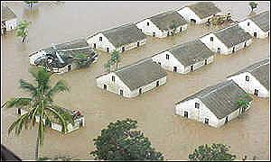Houses submerged by Mozambique floods