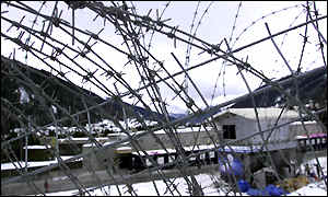 Barbed wire barricade in Davos