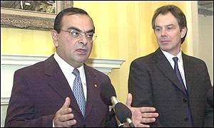 Carlos Ghosn, Nissan's chief operating office, and Tony Blair, UK prime minister