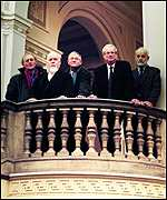 Norman Ackroyd, Peter Blake and David Hockney with Chris Smith MP and Phillip King