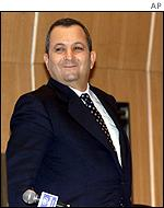 Ehud Barak after addressing businessmen in Tel Aviv