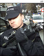Swiss policeman with a sub-machine gun