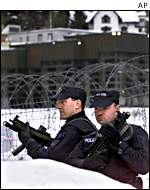 Police prepare for the economic conference in Davos