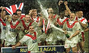 St Helens players celebrate