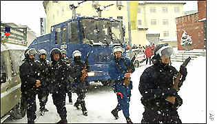 Swiss police move to disperse anti-capitalist protesters from Davos town centre