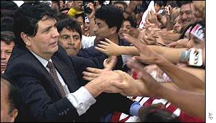 Garcia arrives back at Lima airport