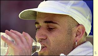 Andre Agassi drinking