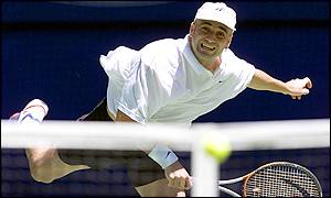 Agassi lets rip with a serve