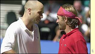 Andre Agassi and Arnaud Clement