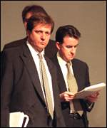 Alastair Campbell and Peter Mandelson working together in April 1997
