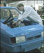 Robin Reliant on the production line
