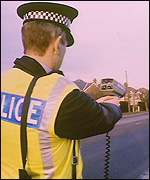 A police speed radar gun