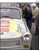 An East German Trabant car