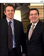 UK Prime Minister Tony Blair (left) with Germany's Chancellor Gerhard Schroeder