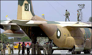 Pakistani plane waits to unload supplies