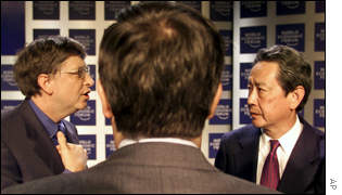 Bill Gates, Jean Messier of Vivendi and Nobuyuki Idei of Sony