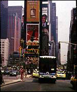 A revitalized Times Square is host to many dot.coms