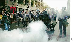 Riot police in Seattle during the WTO meeting in 1999