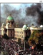 Parliament in flames