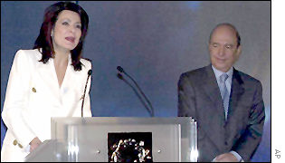 Organising Committee head Gianna Angelopoulos-Daskalaki, with Prime Minister Costas Simitis on right