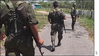 FARC rebels in the demilitarized zone