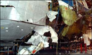The shatter-zone in the partial recontruction of the plane's fuselage