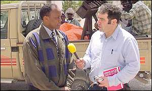 Hussein Aidid being interviewed by Roger Hearing