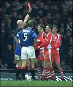 Phil McGuire sees red at Ibrox
