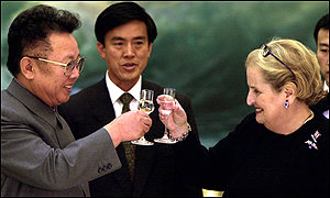 The North Korean leader Kim Jong-il and the US secretary of state Madeleine Albright