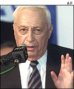 Ariel Sharon speaks to supporters at the Likud Party HQ