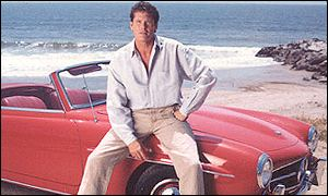 David Hasselhoff on red sports car